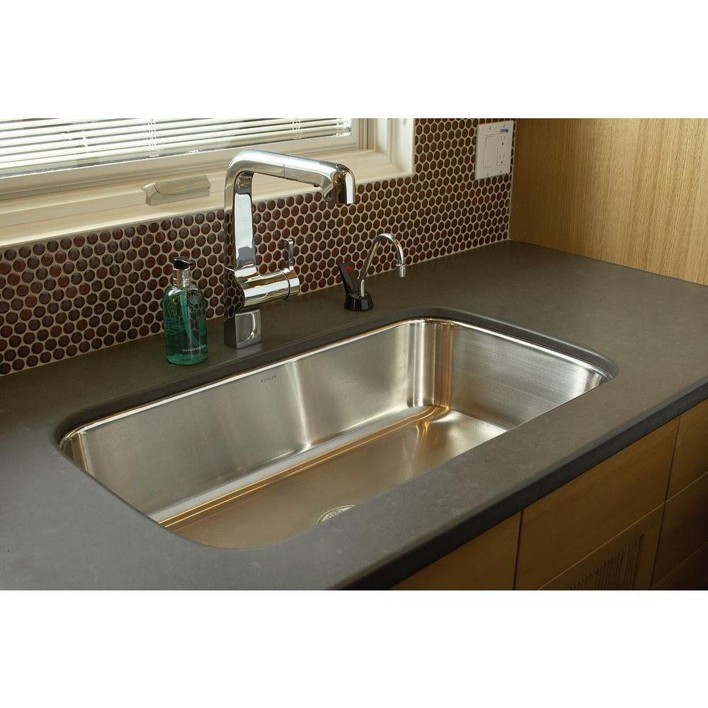 Kohler Undertone Undercounter Undermount Stainless Steel 32 In Single Basin Kitchen Sink K 3183 Na The Home Depot