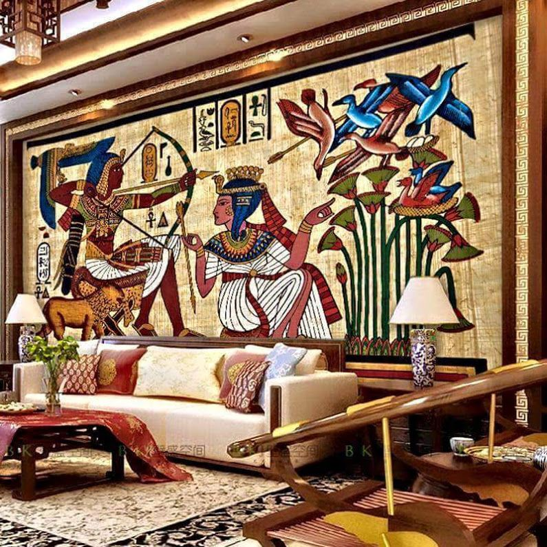 Interior Design And Style Ideas In The Egyptian Type Home Design Wall Panel Design Living Room Ideas Apartment Brown Hidden Tv
