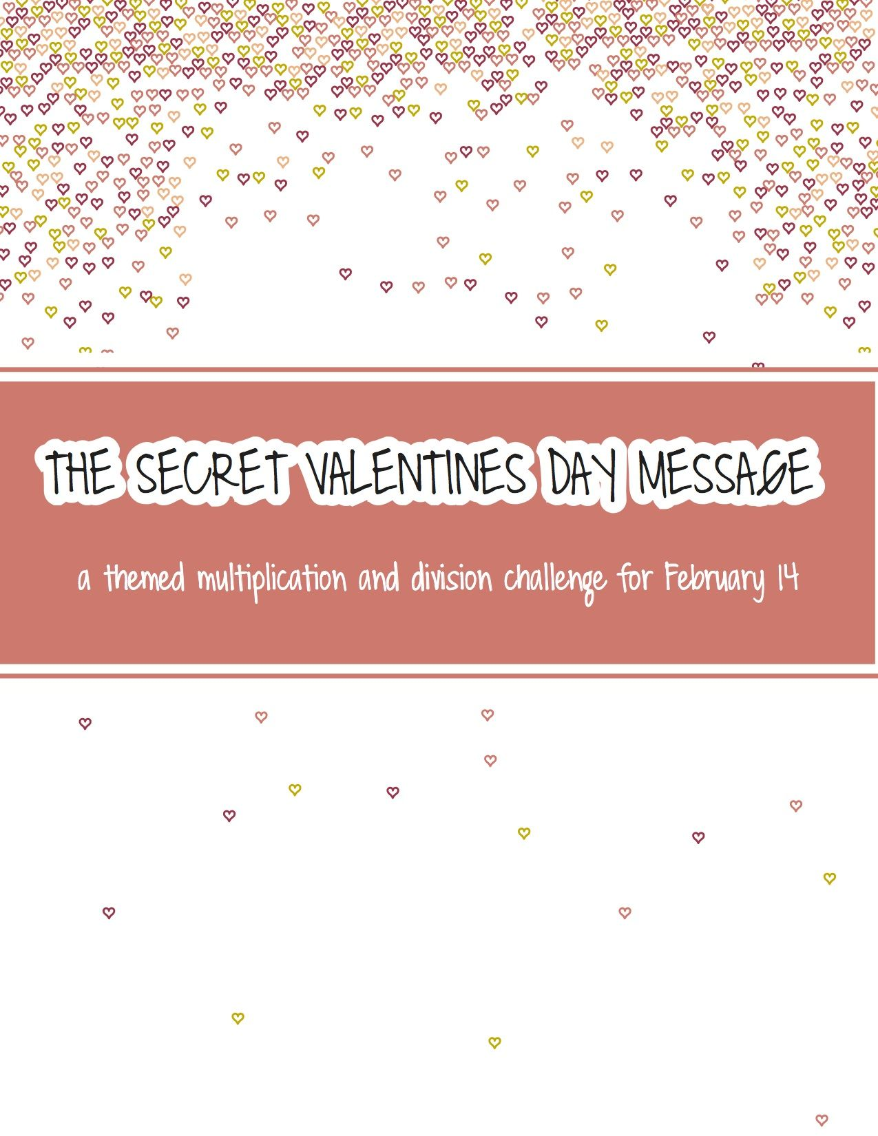 The Secret Valentines Day Message A Multiplication And