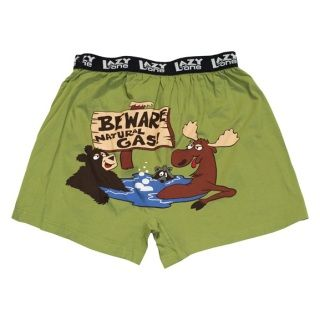 One of Silver Lynx's best sellers!  Popular with all ages and genders, our comical boxers will put a smile on your face.  These garments are made with the quality you expect from Lazy One:   100% cotton  Comfortable wide stretchy waist band  Fly front with button closure Printed image on the back side Machine wash & dry