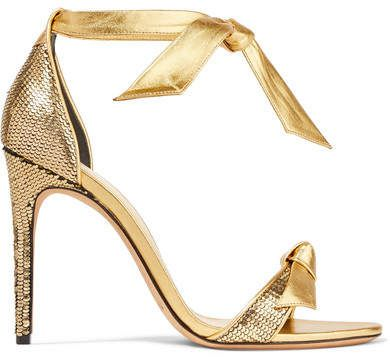 Clarita Bow-embellished Metallic Sequined Leather Sandals - Gold Alexandre Birman Best Place To Buy Cheap Supply Cheap Footlocker Finishline Best Buy Best Place Cheap Price HxyD7V