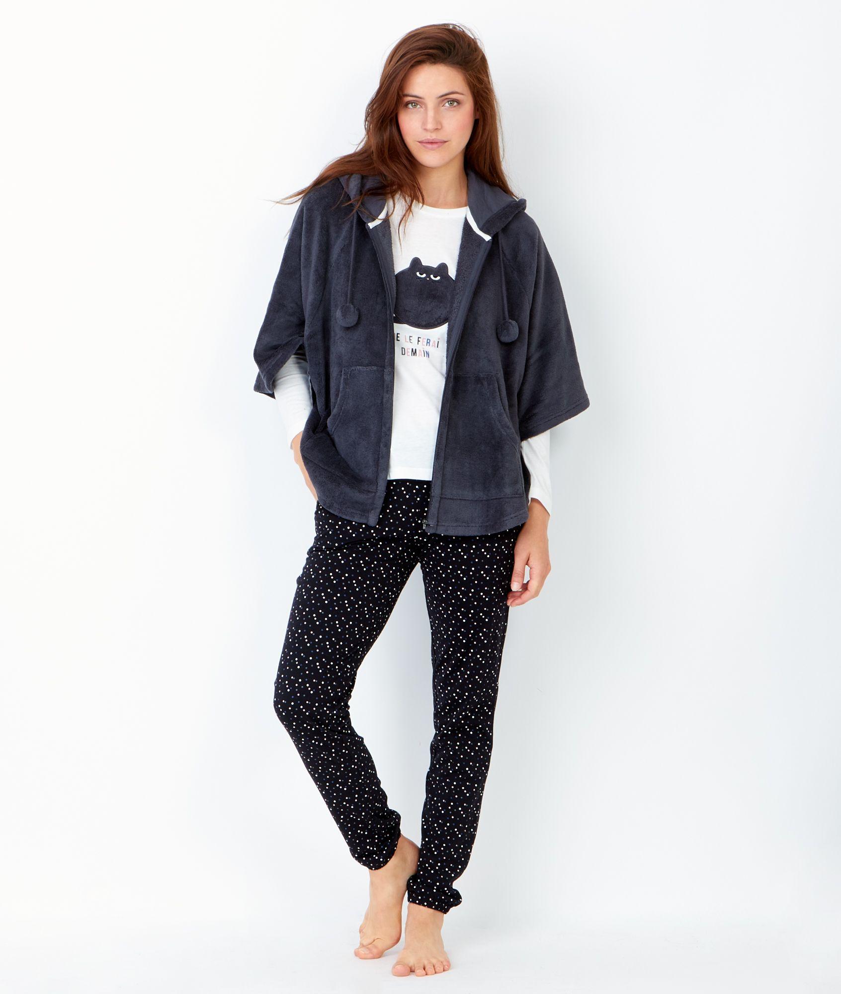pyjama 3 pi ces veste toucher polaire pyjama. Black Bedroom Furniture Sets. Home Design Ideas