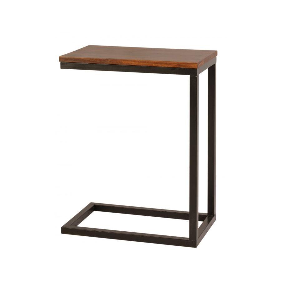 Mesa auxiliar hierro y madera el globo muebles mesas - Mesitas auxiliares salon ...