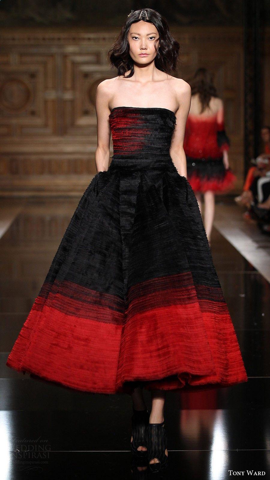 Tony ward couture fall strapless straight across tea length