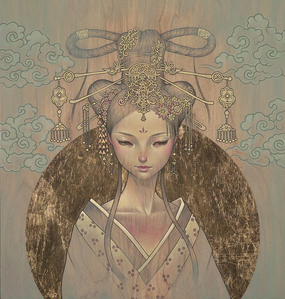 Delicate and seductive paintings by Audrey Kawasaki