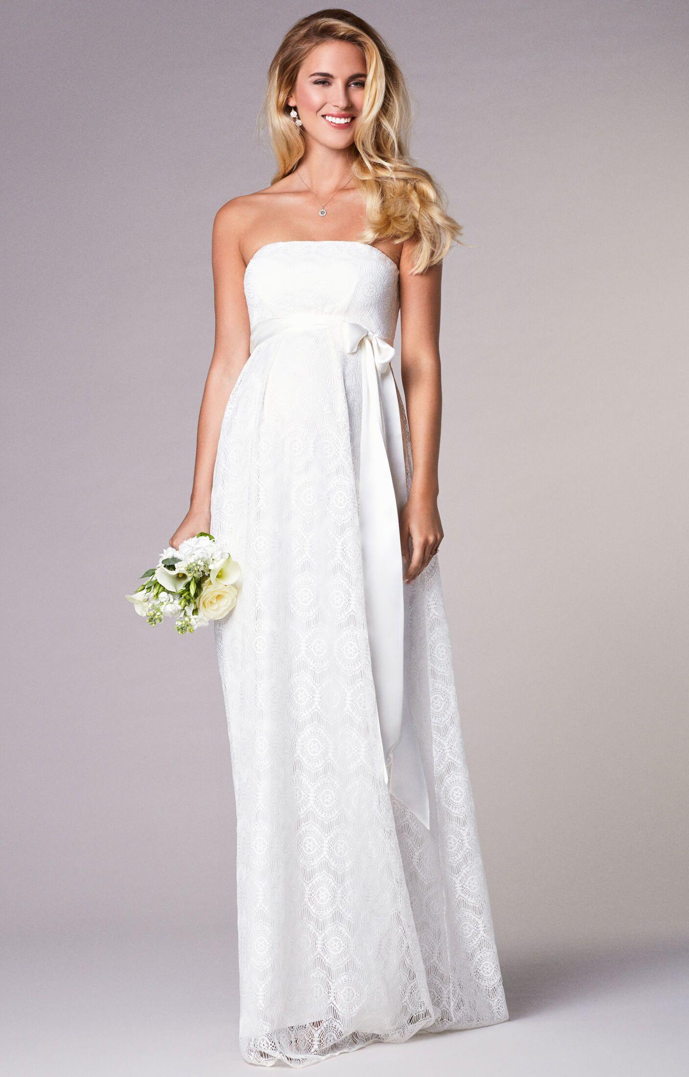 Liara Umstands-Hochzeitskleid lang in Elfenbein Hochzeitskleider