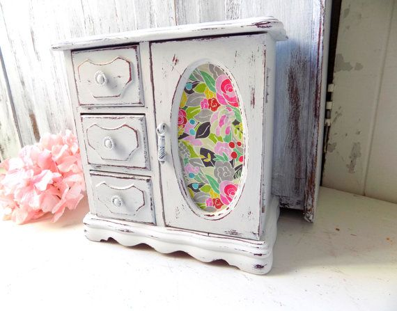 Teen Jewelry Box Fascinating Shabby Chic White Jewelry Box With Flowers Cottage White Distressed