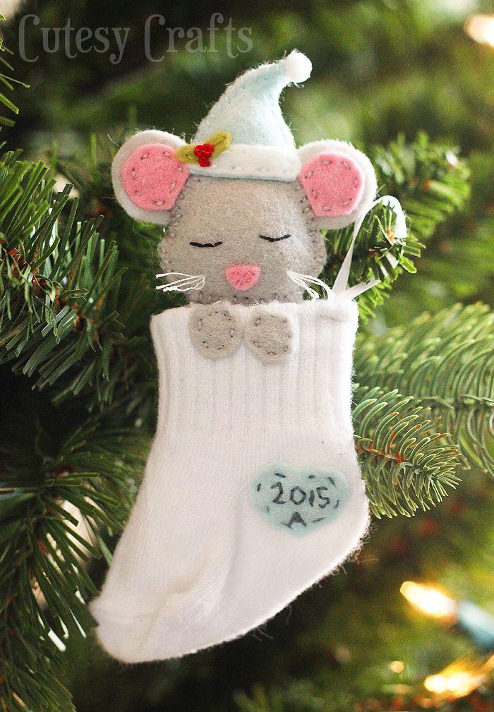 Baby Sock DIY Christmas Ornaments DIY Christmas, Christmas