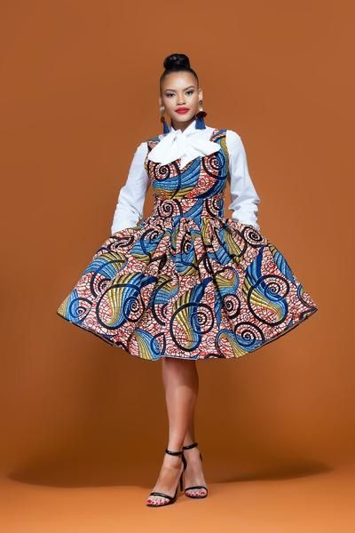 African Print Senegal Midi Dress: African Print Seyi Mid Length Dress