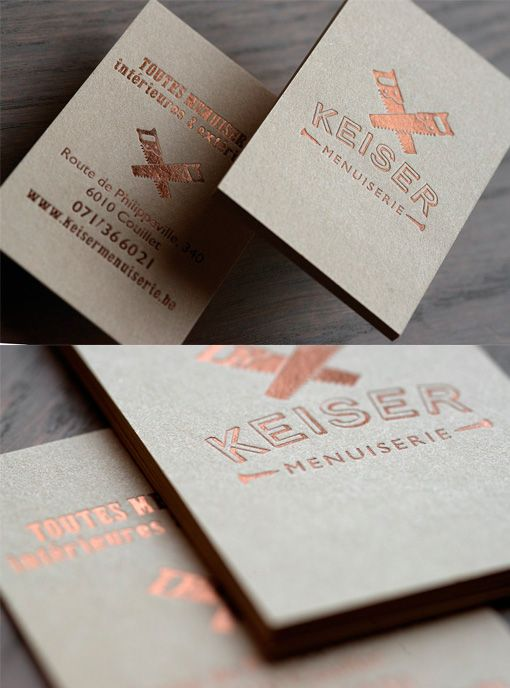 Earthy Copper Foil Business Card For A Carpenter Copper Foil Business Cards Foil Business Cards Embossed Business Cards