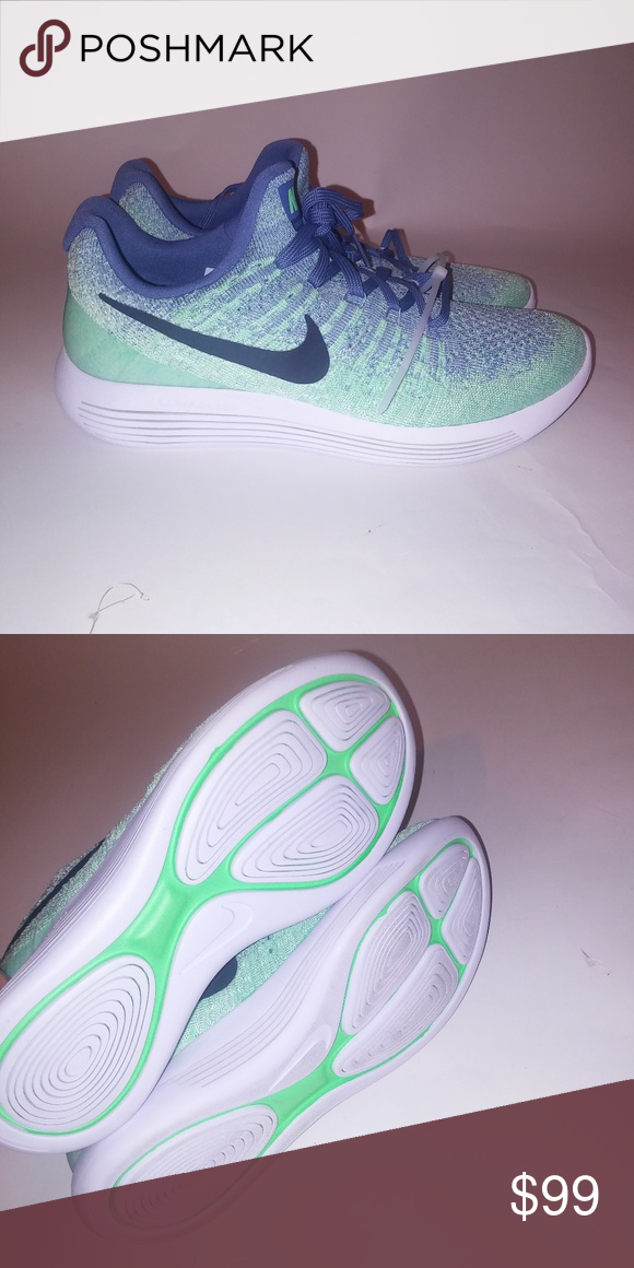 ... dab38 9a039 Nike Lunarepic Sneakers Nike Womens Lunarepic Low Flyknit 2  Blue Green White New Without ... bace97729