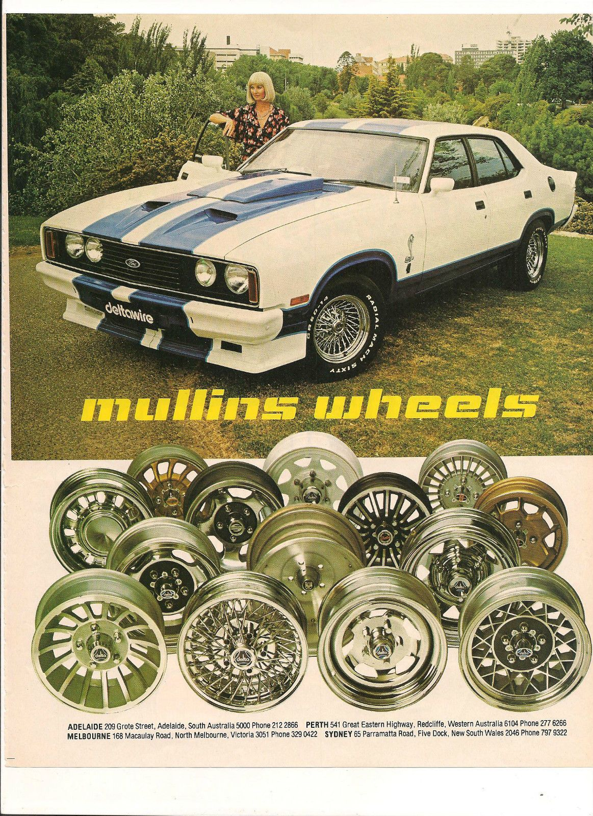 Original Vintage Mullins Wheels Australian Color Advert With A