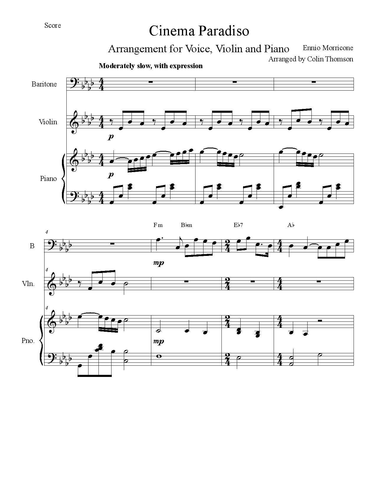 Free Sheet Music Josh Groban Cinema Paradiso By Ennio Morricone