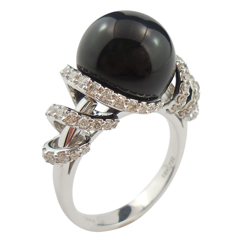 #Black #Onyx and #Diamond Ribbon #Ring $3,450 Made in 18ct White Gold, this stunning ring features a big round Black Onyx ball surrounded by 65 #diamonds with a total weight of 0.74ct. Finger Size N1/2. Free resize on request.