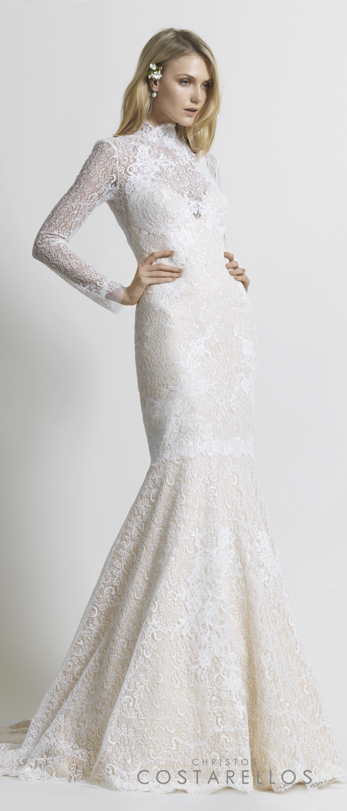Christos Costarellos Bridal 2014 collection. A glamorous mermaid wedding dress with silk organza and beauvillain lace. Code: BR14 33. For stockists please visit www.costarellos.com #christoscostarellos #costarellos #costarellosbride #bridaldress #bridalgown #weddingdress #weddinggown #lace #bridetobe #bridalmarket #bridalfashion #wedding