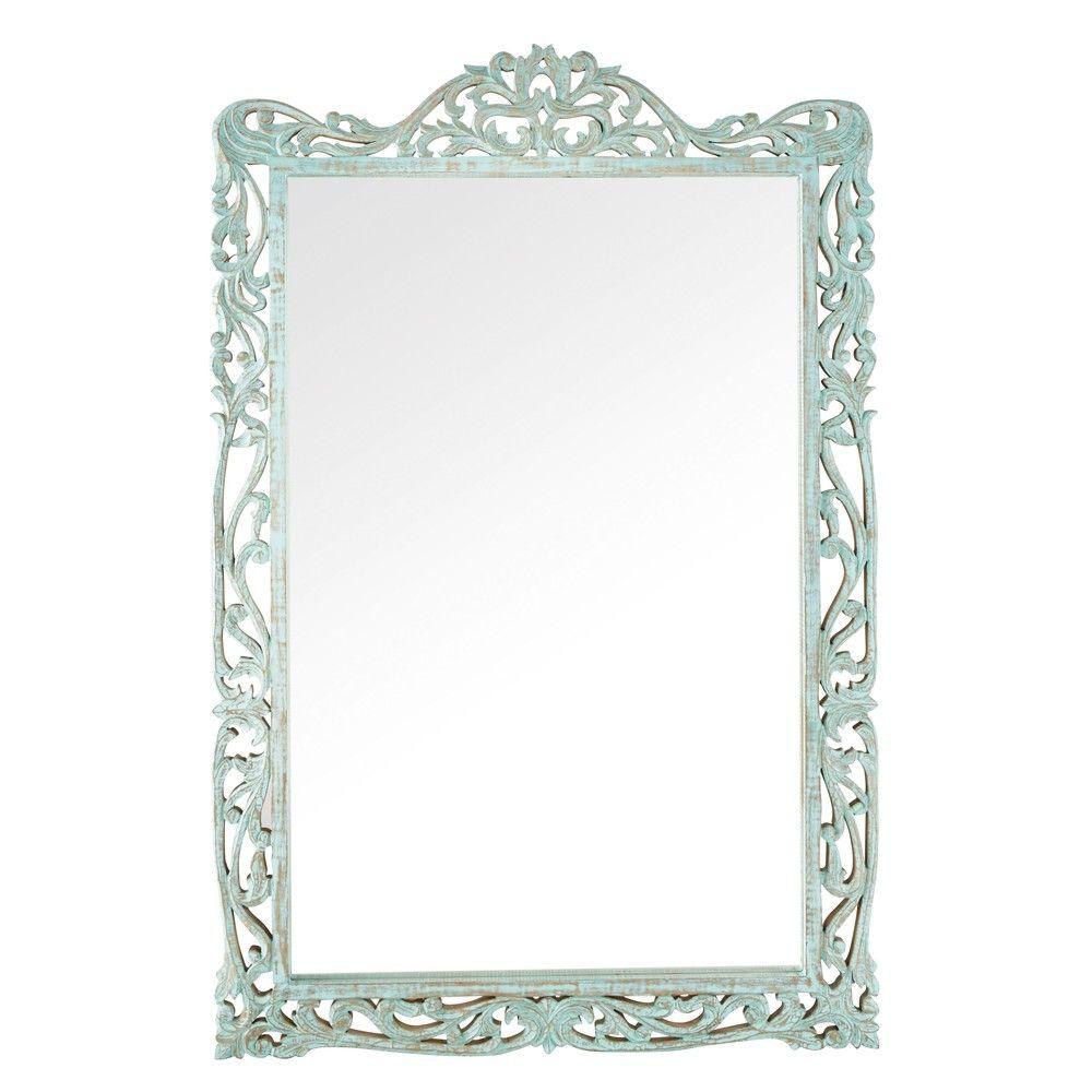 Miroir En Manguier Sculpté Bleu 92x139 Maisons Du Monde Maison