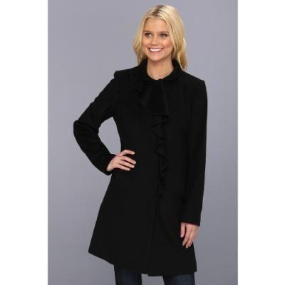 $102, Black Coat: DKNY Ruffle Walker Coat Coat Black. Sold by ...