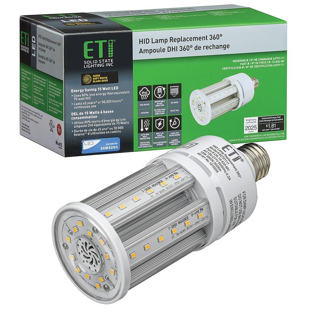 Eti 8 In 75 Watt Equivalent Corn Cob E26 Led Light Hid Replacement 360 Degree 15 Watt 2025 Lumens 3000k Soft White 62701111 Led Shop Light Fixtures Outdoor Security Lights