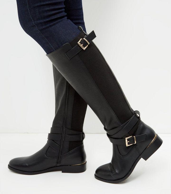 Bottes d'équitation en similicuir noir | New Look
