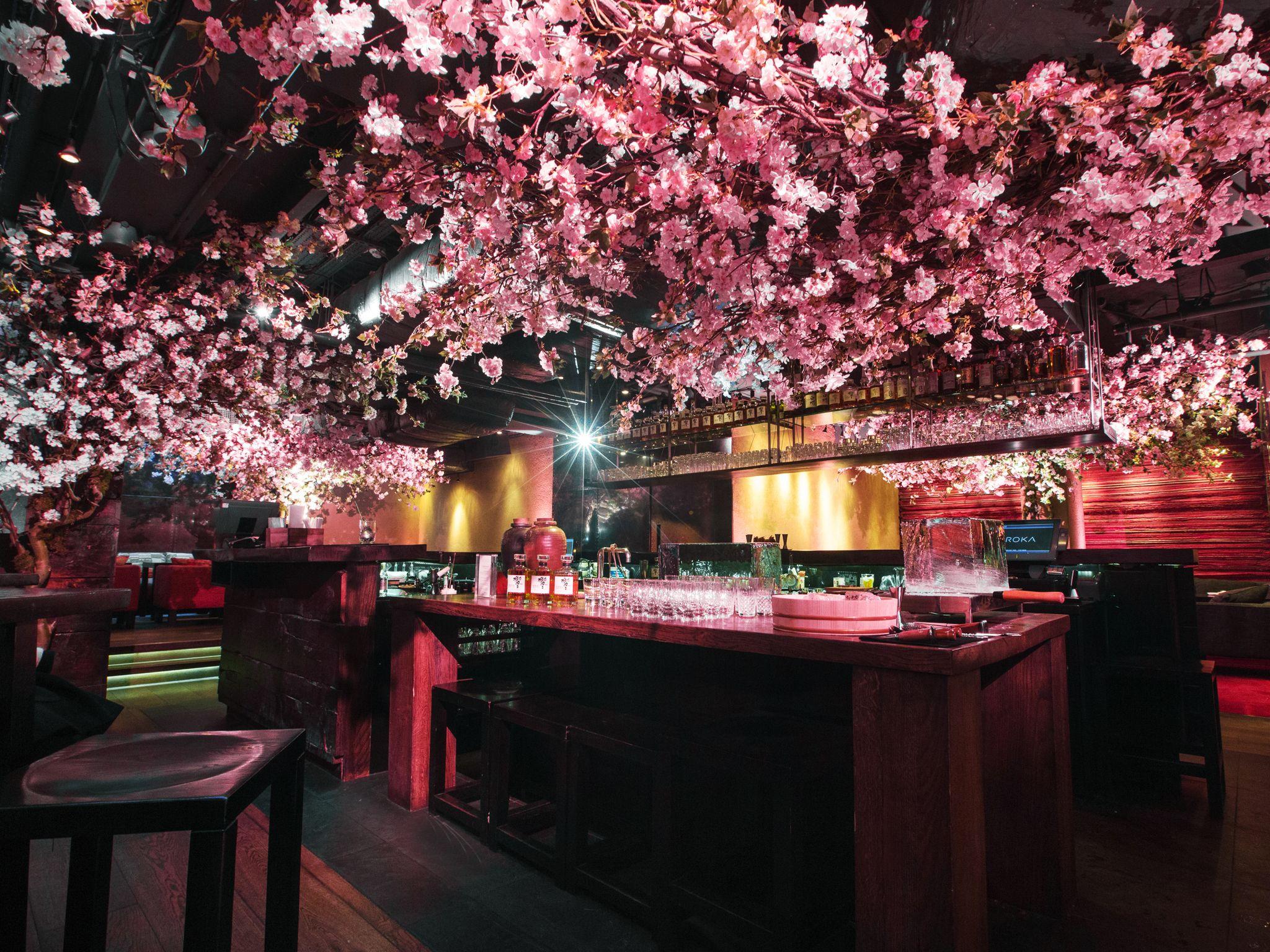 Two Pretty Pink Pop Ups Bringing Japanese Cherry Blossom To London Japanese Restaurant Design Japanese Restaurant Interior Flower Ceiling