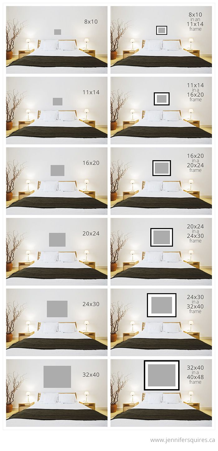 Art Size for Above the Bed Art above bed, Home bedroom