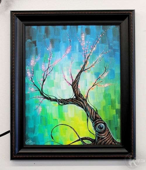 TREE outsider fine art ORIGINAL canvas painting graffiti blossom street banksy. $399.99, via Etsy.