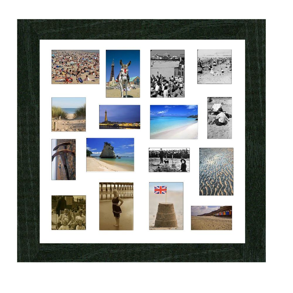 Large multi aperture bevel cut mount picture/photo frame in black ...