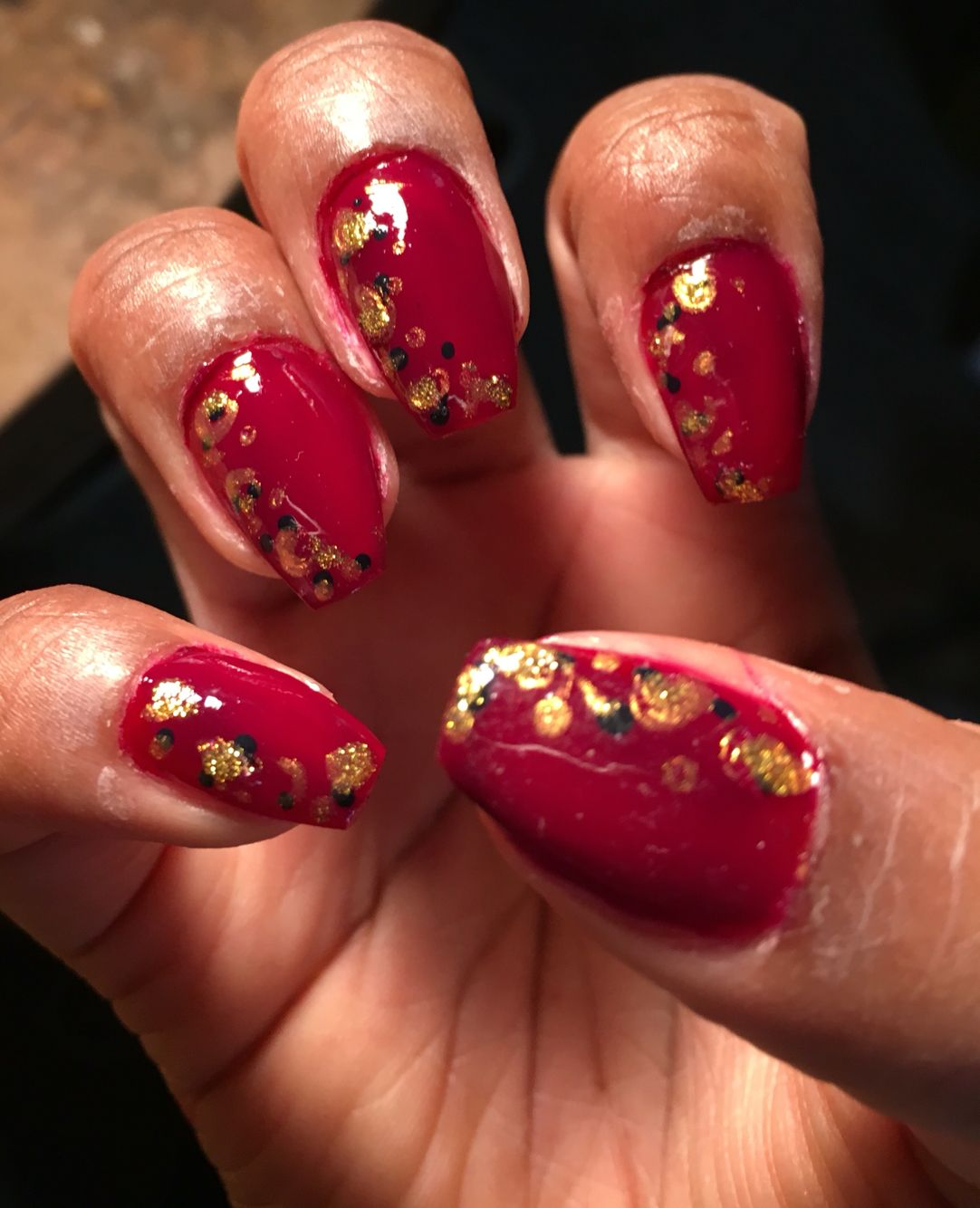 Red Nails Animal Print on the Side!