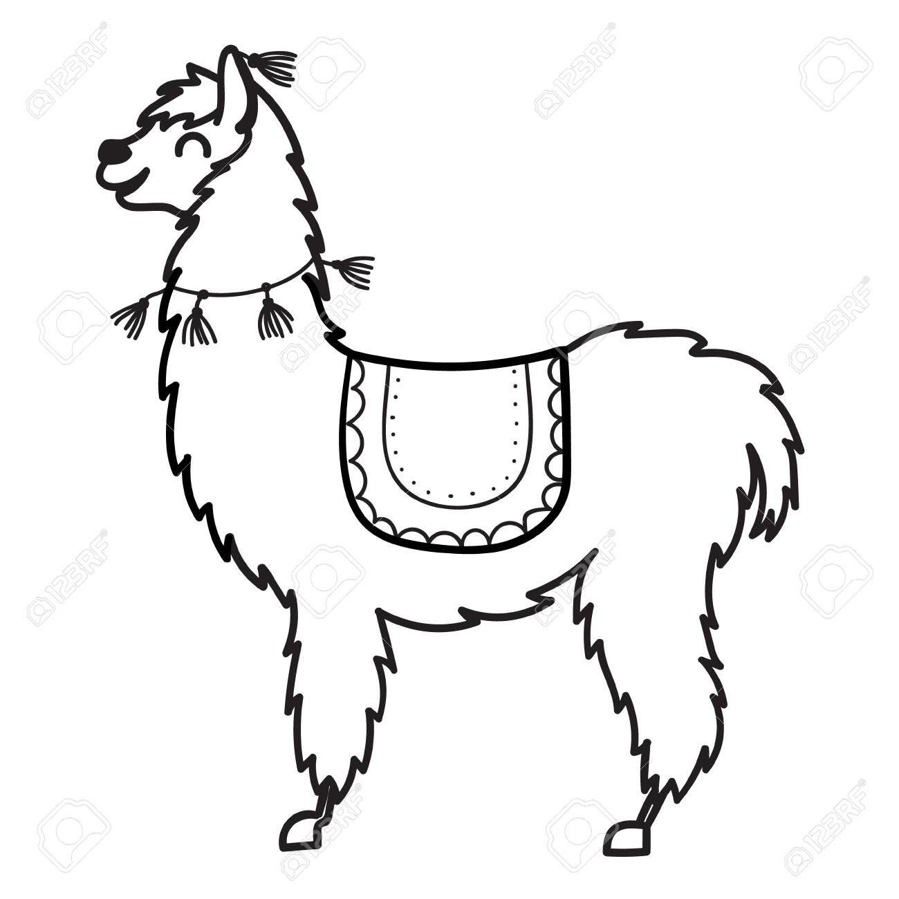 Vector Illustration Of Cute Character South America S Lama Alpaca Drawing Llama Drawing Cartoon Drawings