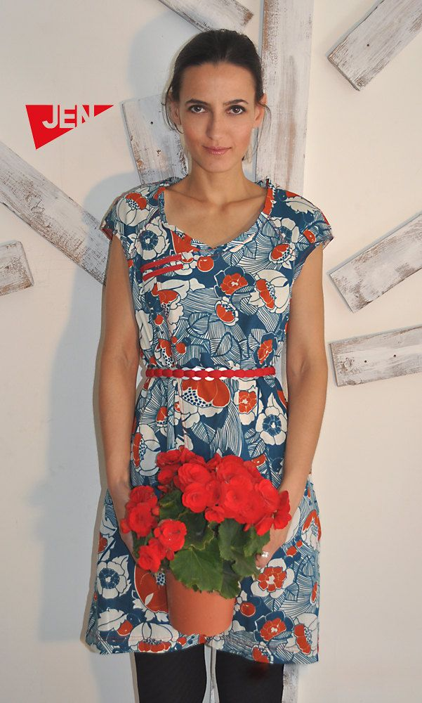 NEW A line floral cotton  asymmetrical mini dress with pockets. $85.00, via Etsy.