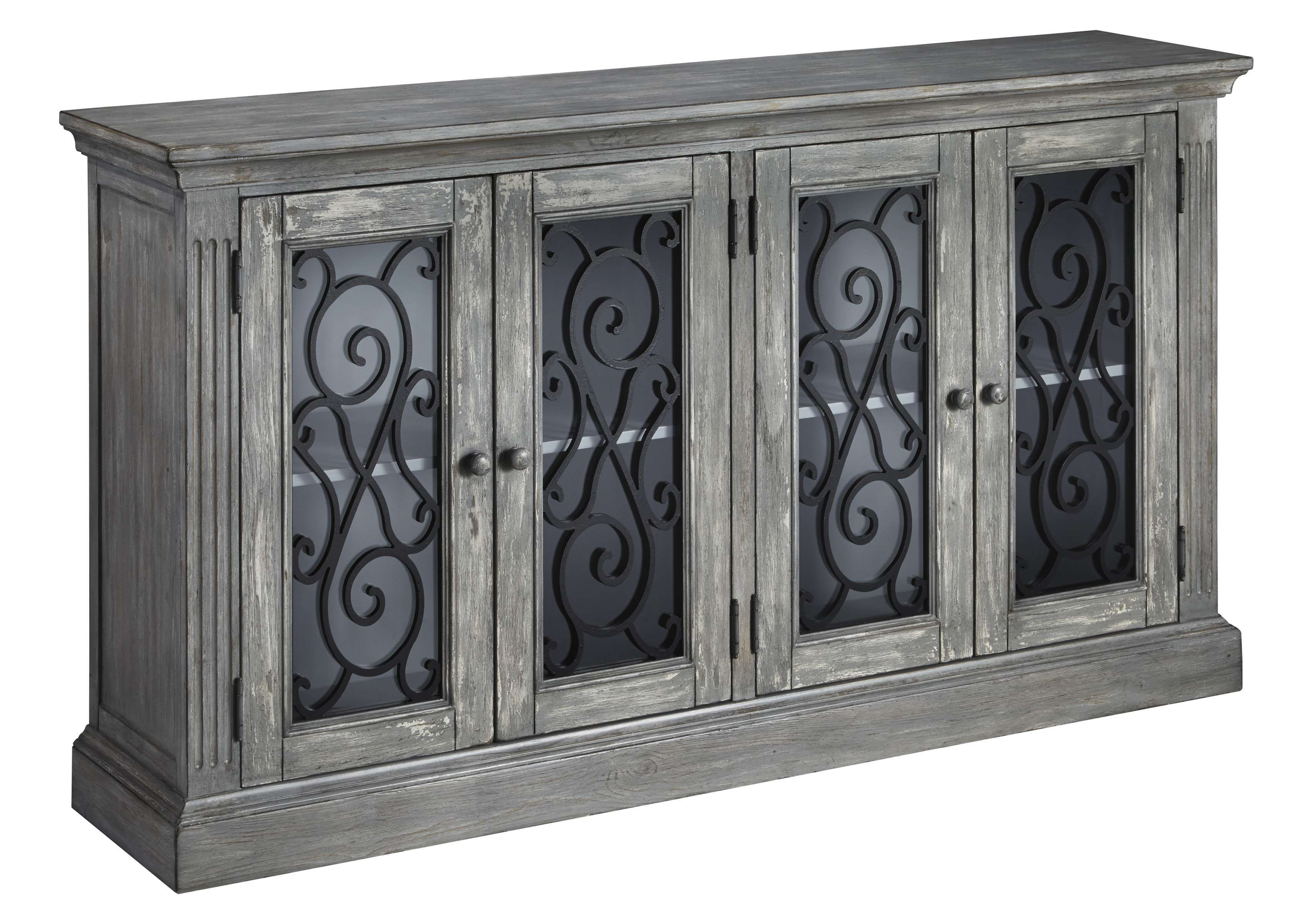 Signature Design By Ashley Mirimyn Antique Gray Accent Cabinet Reviews Goedekers Com Adjustable Shelving Furniture Cabinet