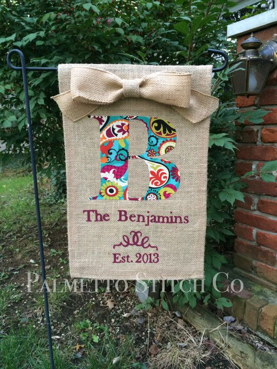 Personalized Burlap Garden Flag Monogram With Family