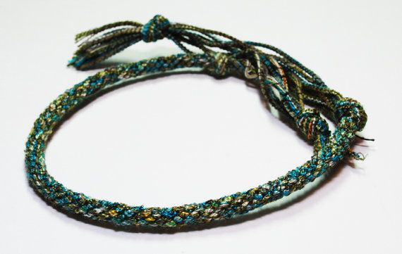 Kumihimo Bracelet Shoelace like Fibre in Green by epicstitching, $5.00