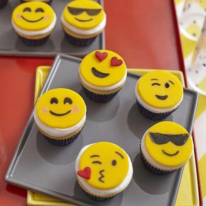 muffins dekorieren ideen emoji muffins