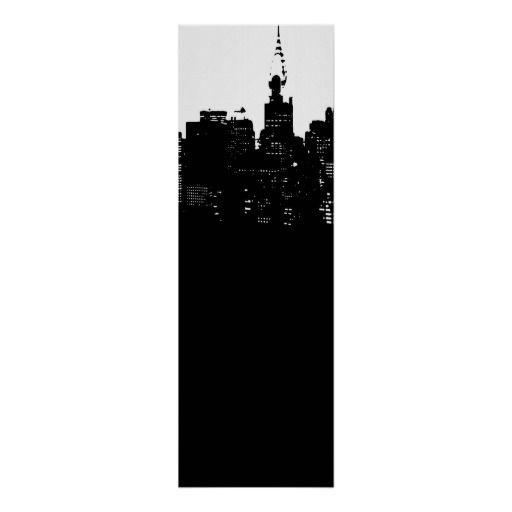 Black white panoramic new york city poster