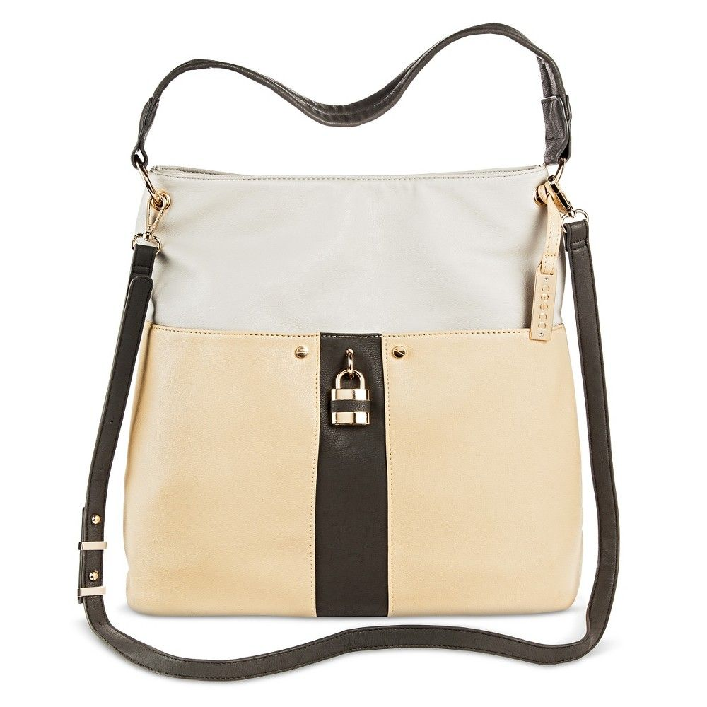 Women's Hobo With Front Slip Pocket and Lock Detailing - Sand (Brown)/Grey