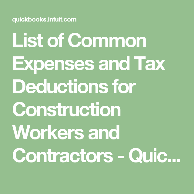 List Of Common Expenses And Tax Deductions For