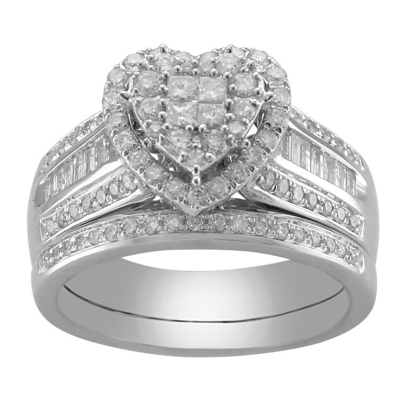 Jcpenney 1 Ct T W Diamond Heart Bridal Ring Set Jcpenney Diamond Heart Heart Jewelry Diamond
