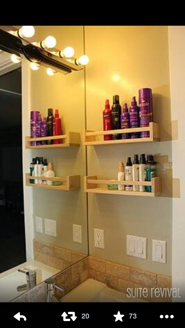 Spice rack holder used to organize haircare products. | DIY | Pinterest