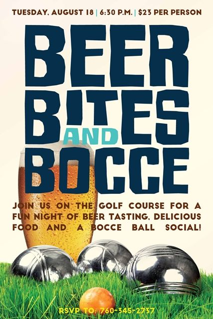 Beer, Bites and Bocce flyer poster design template Bocce Ball - fun poster templates