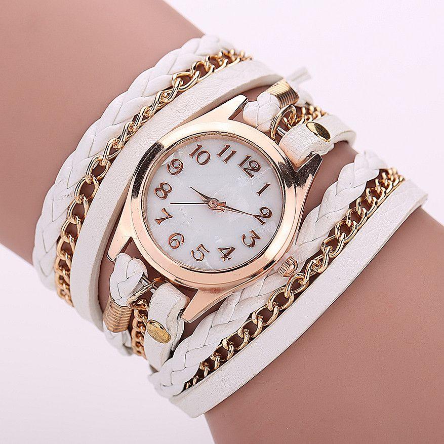 Encontrar Más Relojes pulsera mujer Información acerca de Mujeres reloj  pulsera relojes de cuarzo de cuero trenza multicapa de cuero del abrigo para  mujer ... 562abcff074f