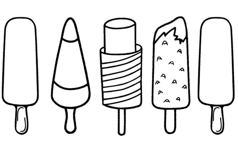 Popsicle Coloring Page Ide Menggambar Ide Gambar