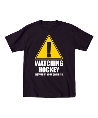 Black 'Watching Hockey Disturb At Your Own Risk' Tee #zulily #zulilyfinds