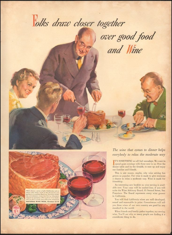 1941 Vintage Ad For National Wine WeekArt Thanksgiving Meal