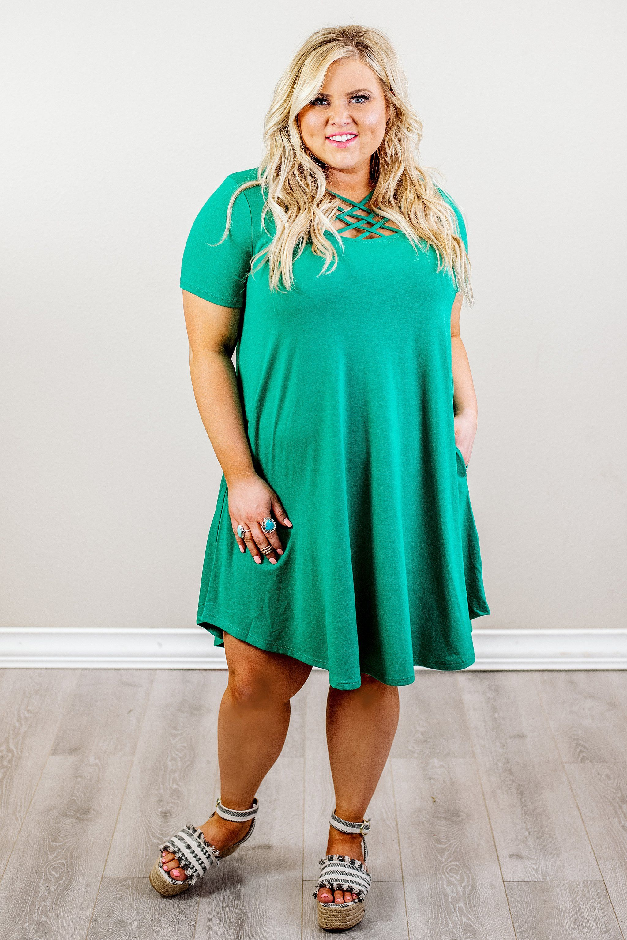 Curvy Current Affairs Dress, Kelly Green in 2019 | Trendy ...