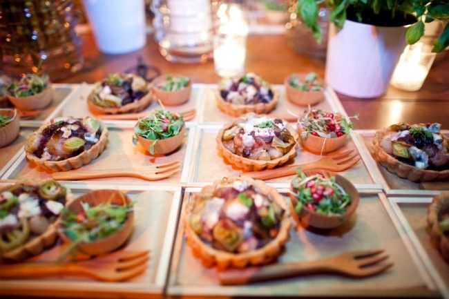 Food Stations That Hold Delicious Tasting Plates Guests Can Pick Up And Walk Away With