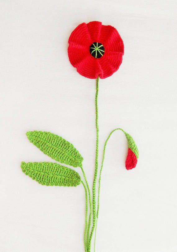 Crochet poppy applique poppy flower and leaves set any colour crochet poppy applique poppy flower and leaves set any colour made to order crochet appliques crochet poppy and yarns mightylinksfo