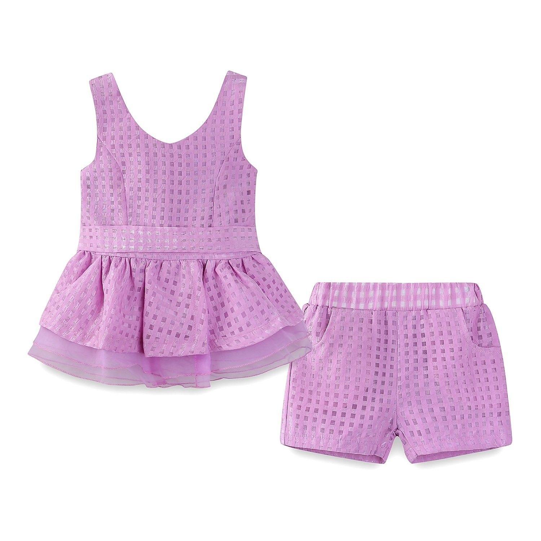 Little Girls Short Sets Summer Chiffon Tank Tops and Shorts Outfits -  Purple - CM122UY5K0P | Girls summer outfits, Short outfits, Girl outfits