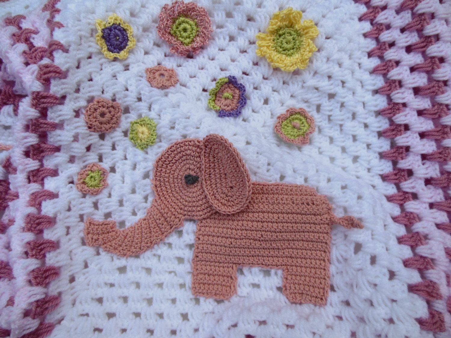 Crochet Baby Blanket with Crochet Elephant Applique Pink and White ...