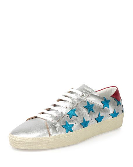 3f691c2c0a3 SAINT LAURENT Metallic Stars Leather Low-Top Sneaker, Silver/Blue. # saintlaurent #shoes #